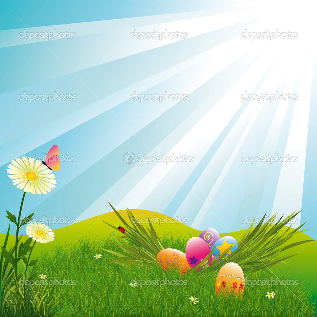 Easter holiday colorful easter eggs blue light burst background