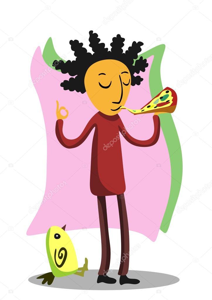 ピザを食べる人 ストックベクター Bezhanoff 5138948