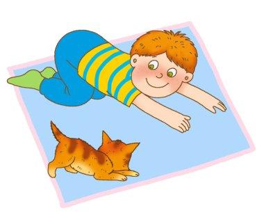 A little boy crawling on the mat, like a kitten stock vector