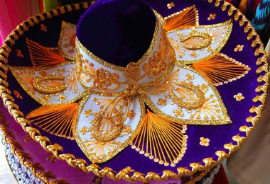 Charro mariachi Mexican hat blue purple and golden