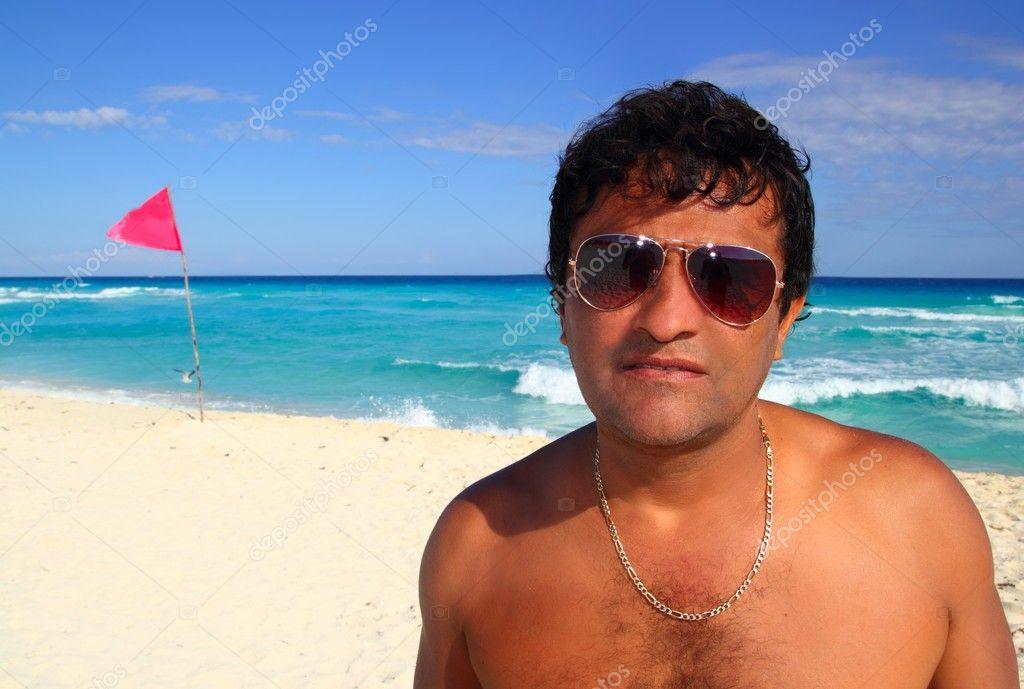 Mexican latin tourist humor suspicios in caribbean