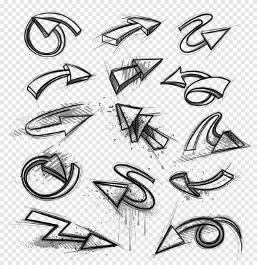 Collection of hand drawn arrows. Vector illustrations clip art vector