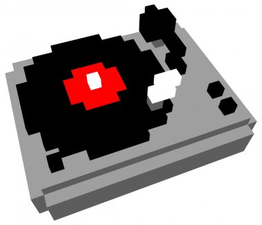 3D pixel cartoon style turntable stock vector