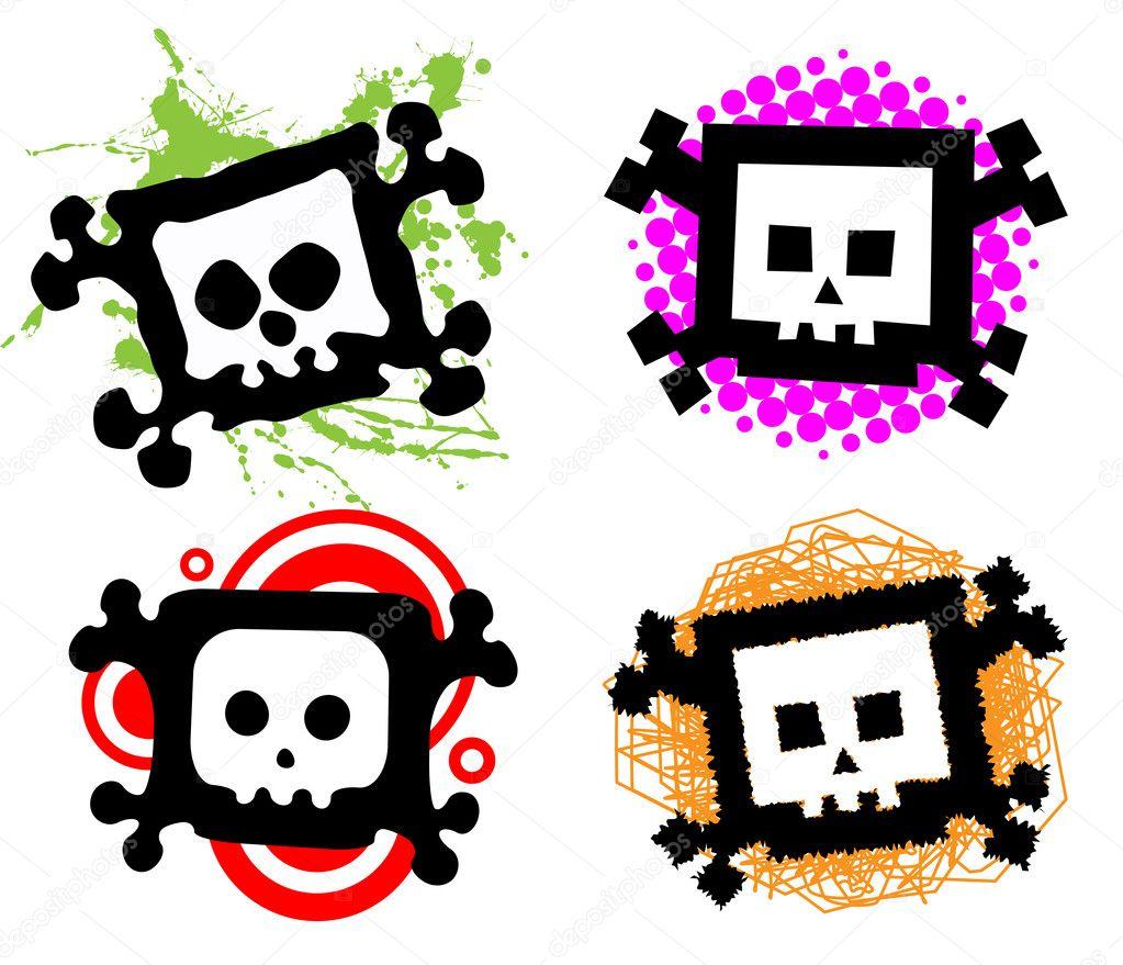 cartoon skulls u2014 stock vector pepelaz 5251910
