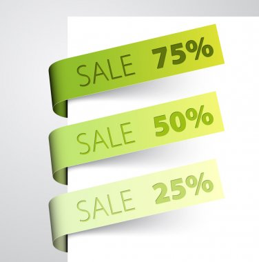 Set of sale green paper tags