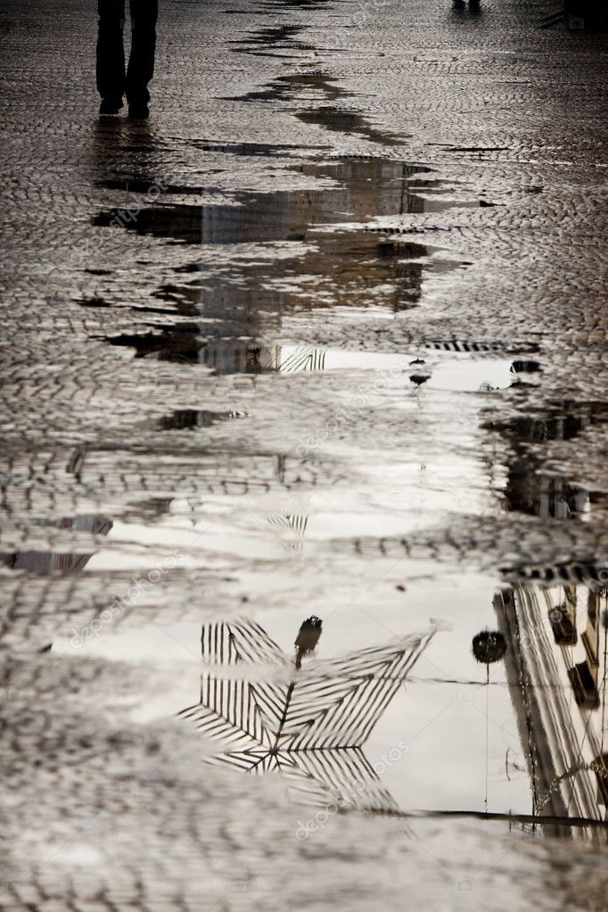 Water reflection on the street