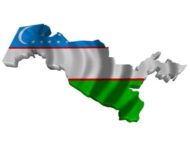 Flag and map of Uzbekistan