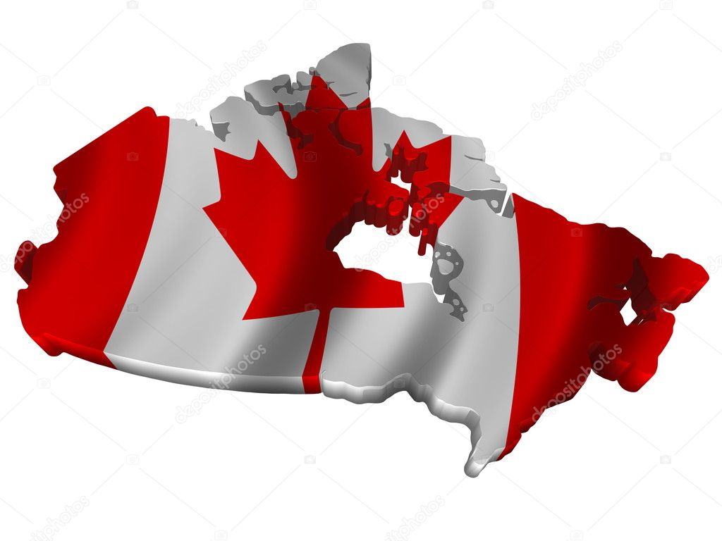 Flag And Map Of Canada Stock Photo Savup - Canada map with flag