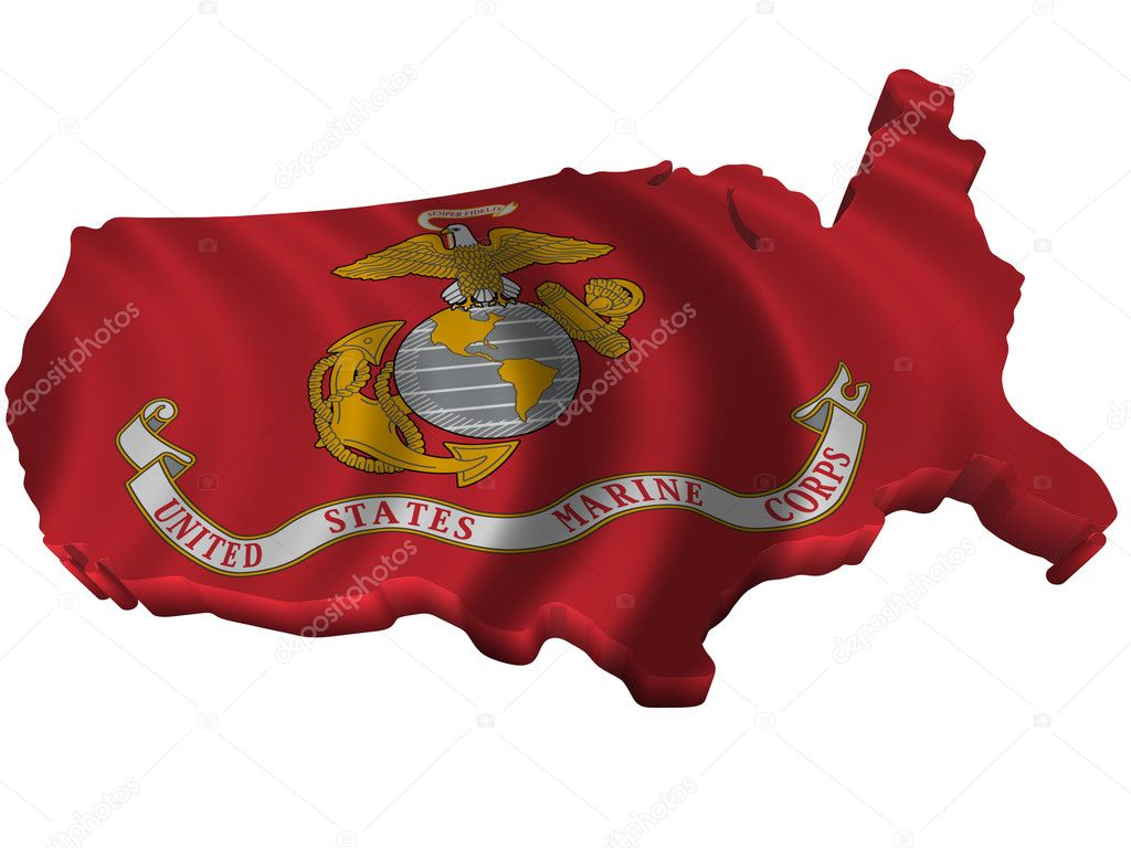 flag and map of united states marine corps stock po