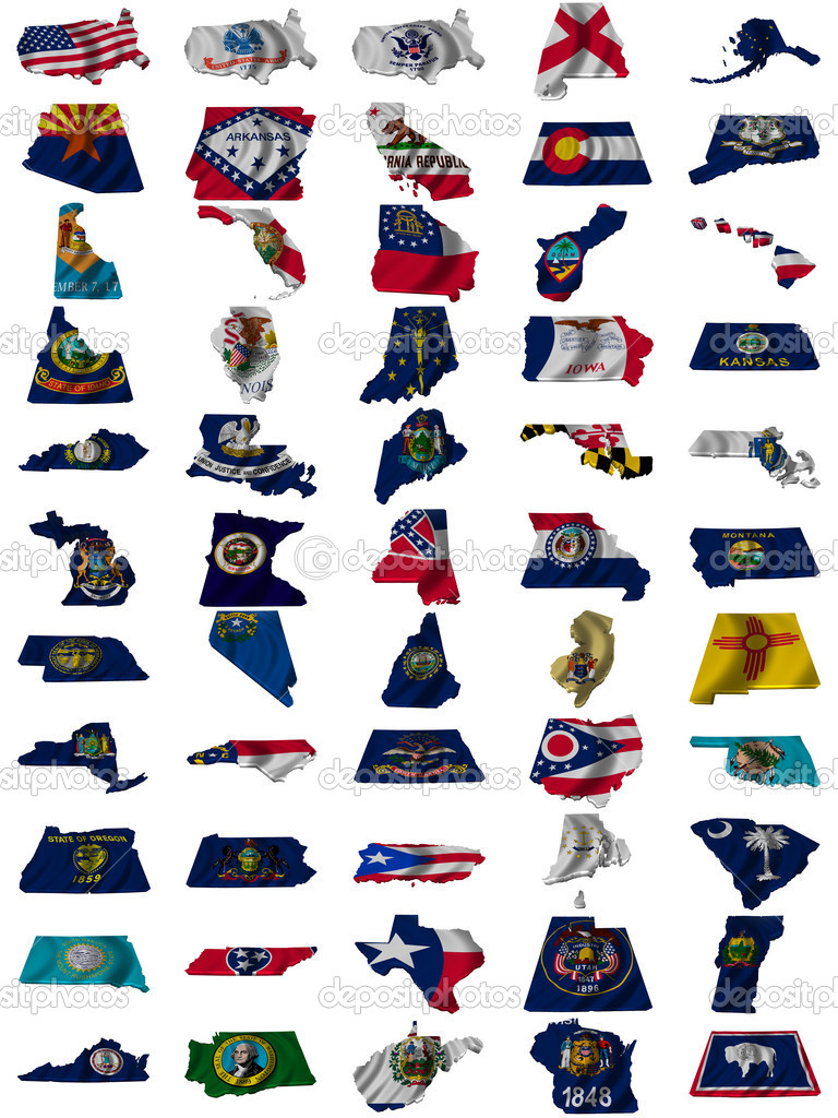 Flag and map of United States of America