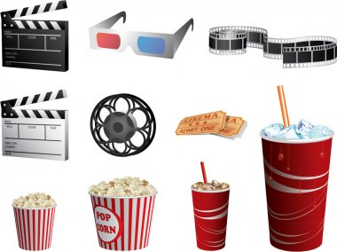 Cinema symbols vector set isolated on white stock vector