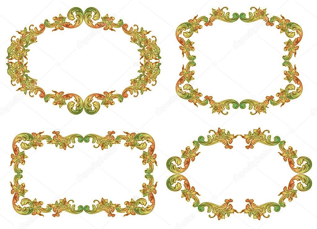 Satz von floralen Rahmen — Stockvektor © tory #5323515