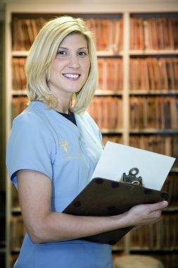 Beautiful blonde medical assistant