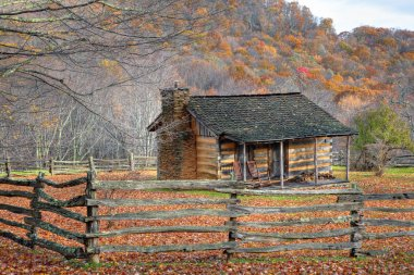 Fall Cabin and Split Rail Fence
