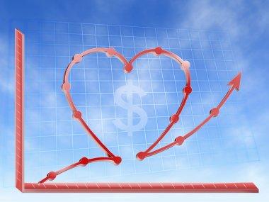 Love money graphic hearth form