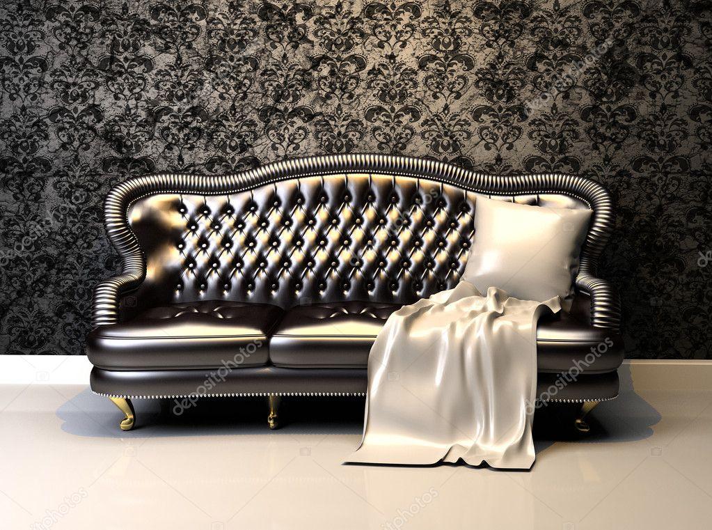 sofá de couro no interior com papel de parede decoração ...