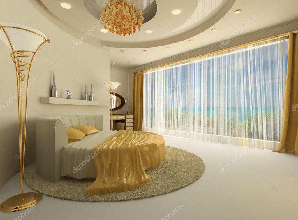 Het ronde bed in een luxe interieur met een groot raam — Stockfoto ...