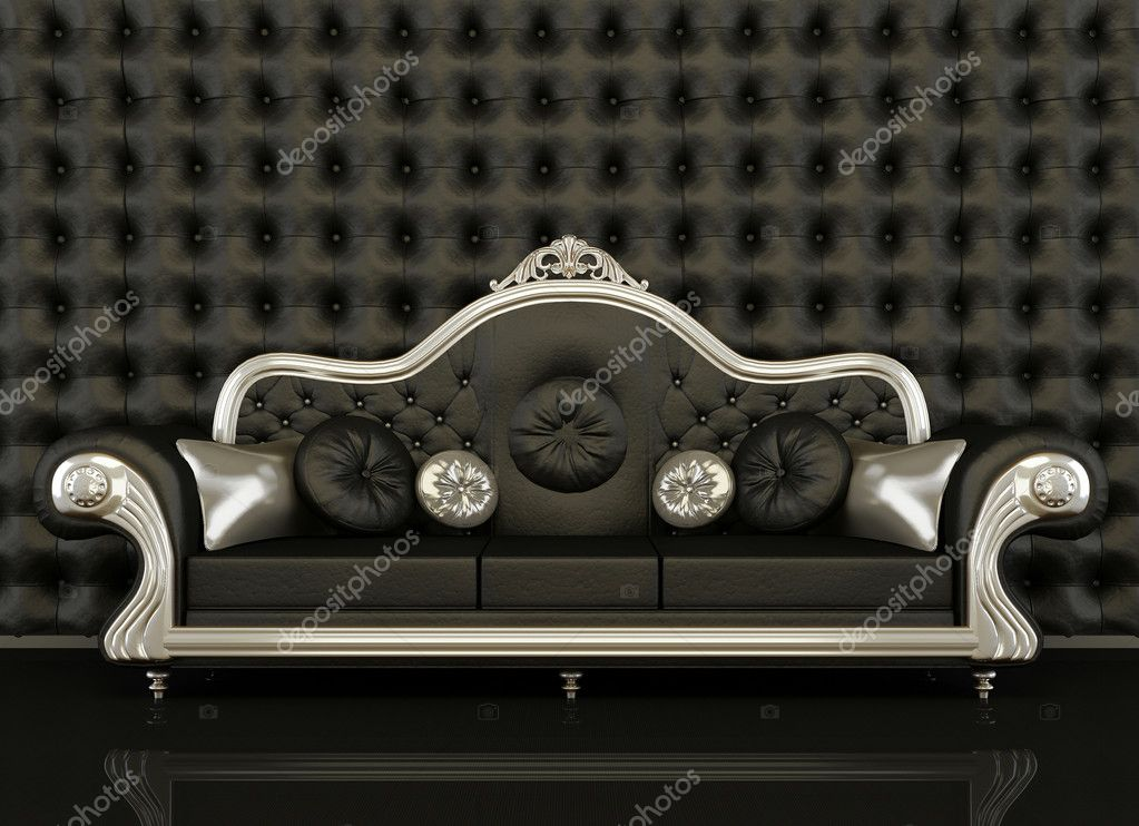 Classic Leather Sofa With A Silver Frame On Black Background U2014 Stock Photo