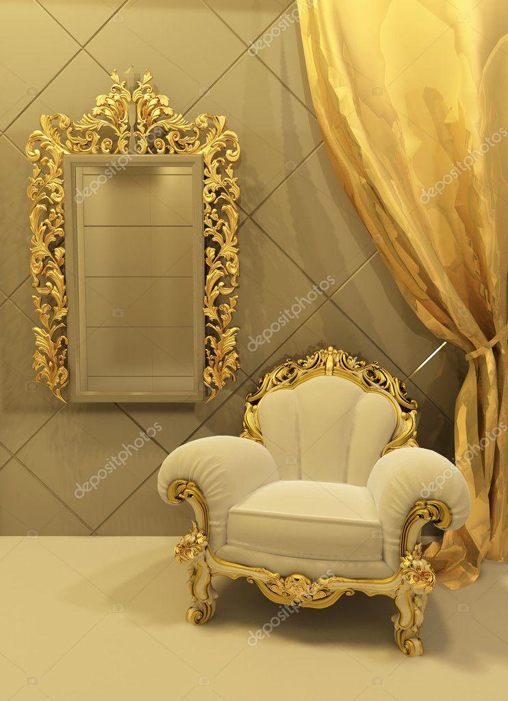 muebles barrocos en un lujoso interior Foto de stock