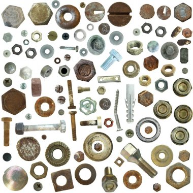 Big collection old rusty Screw heads, bolts, steel nuts,old metal nail