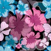 Varrat nélküli fekete virágmintás