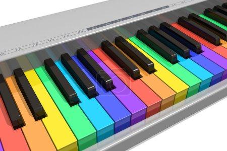 Photo pour Clavier piano arc-en-ciel - image libre de droit