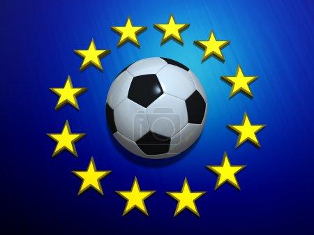 Soccer ball on European Union flag
