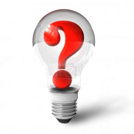 Photo for Question mark in lightbulb - Royalty Free Image