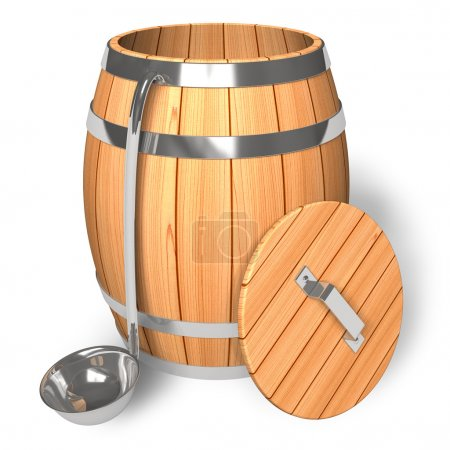 Opened wooden barrel with scoop