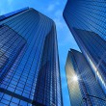 Modern business buildings...