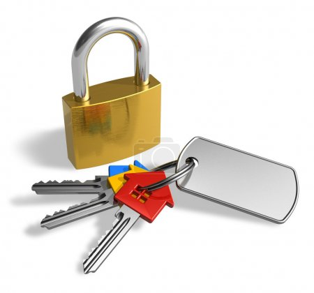 Photo for Padlock with bunch of keys - Royalty Free Image