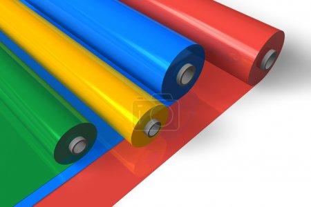 Photo pour Rouleaux en plastique couleur - image libre de droit