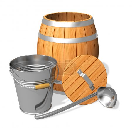 Wooden barrel and metal bucket
