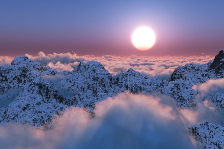 Photo pour Coucher de soleil de montagne au-delà des nuages - image libre de droit