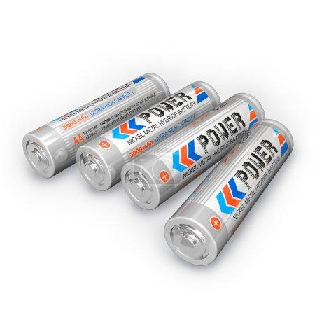 Photo pour Quatre piles AA rechargeables - image libre de droit