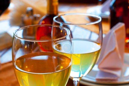 Wine goblets on restaurant table
