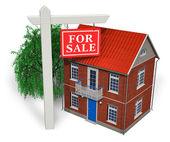 "Постер, картина, фотообои ""для продажи""знак в передней части нового дома"""