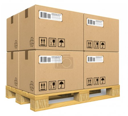 Photo for Cardboard boxes on pallet - Royalty Free Image