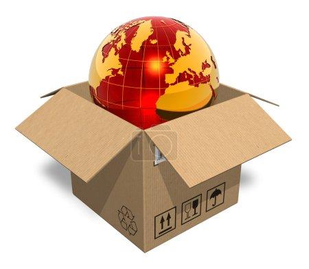 Photo pour Globe terrestre dans une boîte en carton - image libre de droit