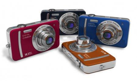 Photo pour Ensemble d'appareils photo numériques compacts couleur - image libre de droit