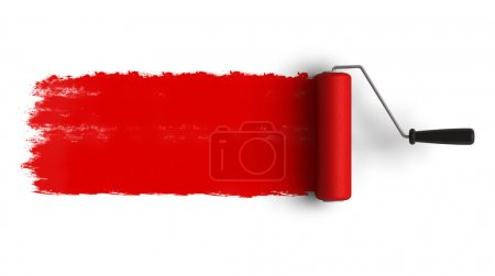 Photo for Red roller brush with trail of paint - Royalty Free Image