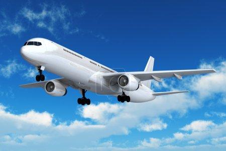 Photo pour Vol d'avion de ligne dans le ciel bleu - image libre de droit