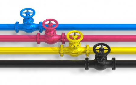 CMYK pipelines with valves