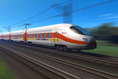 Tren moderno de alta velocidad con desenfoque de movimiento