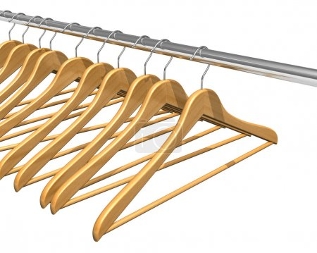 Photo for Coat hangers on clothes rail - Royalty Free Image