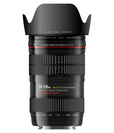 Illustration for High detailed photorealistic vector illustration of professional zoom lens. 24-120mm f/2.8 - is a true dream of every professional photographer! - Royalty Free Image