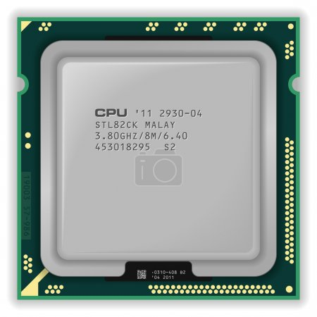 Illustration for Detailed vector illustration of modern multicore CPU - Royalty Free Image