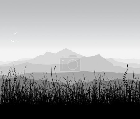 Illustration for Landscape with grass and mountains. - Royalty Free Image