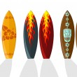 Set of vector surf boards with Hawaiian patterns a...