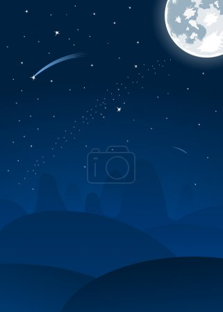 Illustration for Vector night landscape with full moon and falling stars - Royalty Free Image